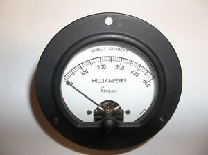 Vintage Simpson Dc Milliamperes Meter 0 500 3 1 2 Model 34286 3443