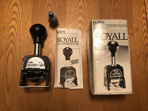 Bates Royall Automatic Numbering Machine Rnm6 7 W Ink Bottle In Original Box