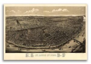1895 St Louis Missouri Vintage Old Panoramic City Map 24x36