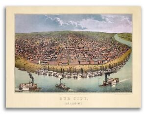 1859 St Louis Missouri Vintage Old Panoramic City Map 24x32