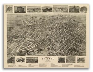 1912 Bristol Tn Vintage Old Panoramic City Map 20x28