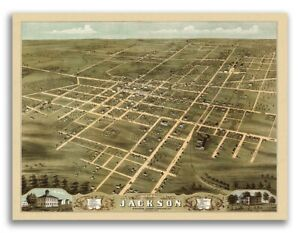 Jackson Tn 1870 Historic Panoramic Town Map 18x24