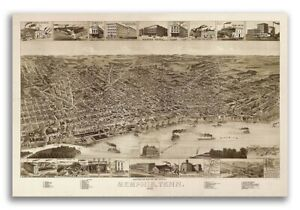 Memphis Tn 1887 Historic Panoramic Town Map 20x30
