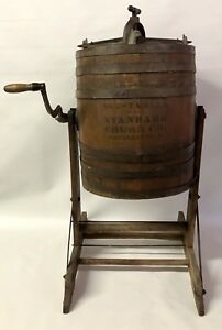 Antique 7 Gallon Butter Standard Churn Co No 2 Wood Barrel Wapakoneta W Stand