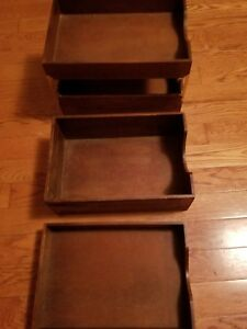 Lot Of 3 Carver Oak Wood Desk Tray File Organizer