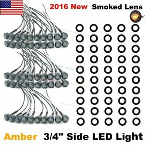 50x Mini 12v Amber 3 4 Smoked Lens Side Led Marker Trailer Bullet Light Us Ship