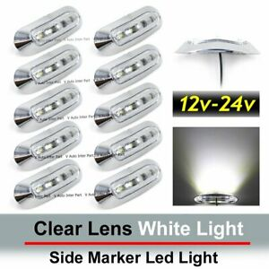 10x White 4 Smd Led Side Marker Tail Light Clearance Lamp Truck Trailer 12v 24v