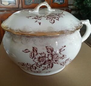 Large Antique Warwick China Porcelain Chamber Pot Lid Shaded Brown Floral