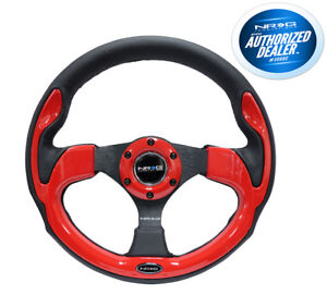 Nrg 320mm Pilota Style Steering Wheel Black Leather Red Inserts Rst 001rd