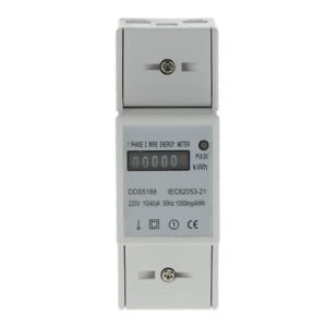 Power Watt Hour Meter Energy Monitor Kwh Din rail 10 40 a 1 Phase 2 Wire