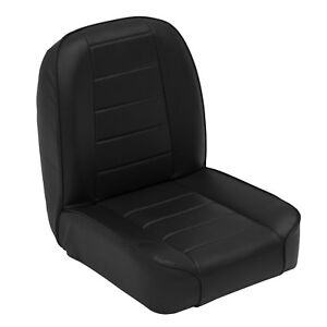 Smittybilt Front Stationary Low Back Bucket Seat For Jeep Cj 1995 76 Black