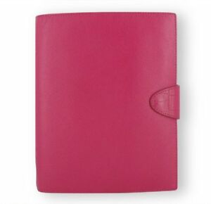 Filofax Daily Weekly Planner Calipso Deep Pink Leather A5 Organizer Agenda Diary