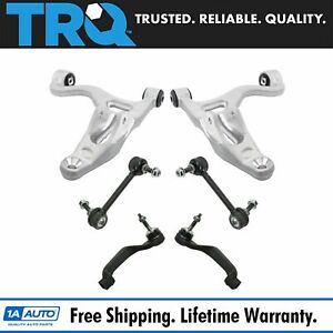 6 Piece Steering Suspension Kit Lower Control Arms Tie Rods Sway Bar Links New