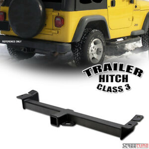 Class 3 Iii Matte Blk Trailer Hitch Receiver Tube Towing 97 06 Jeep Wrangler Tj