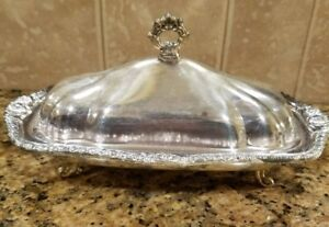 Vintage Silverplate Footed Covered Butter Dish W Glass Liner