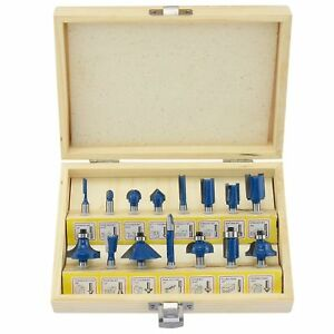 Wood Work Router Bit Set 15pc Ogee Molding Frame Cutter Storage Box Hobby Tool