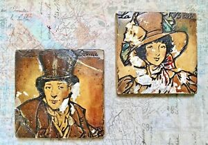 Vintage Decorative Tile Victorian Couple La Belle French Tile