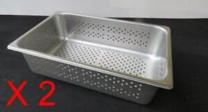 Lot Of 2 Perforated Stainless Steel Full Size 6 Deep Steam Table Pan Buffet