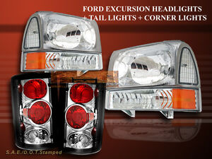 2000 2004 Ford Excursion Clear Headlights corner Clear Tail Lights 00 04
