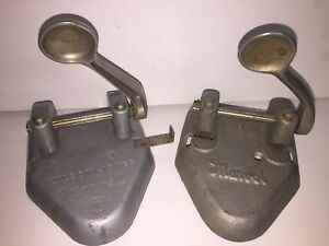 2 Lot Vintage Wilson Jones 2 Hole Punch Marvel 331 Chrome Handle