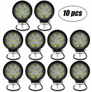 10x 4inch 27w Round Led Work Light Pod Flood Beam Off Road Fog Driving Light 12v