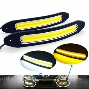 2pc Flexible Cob Car Led Drl Daytime Running Light Turn Signal Yellow Waterproof