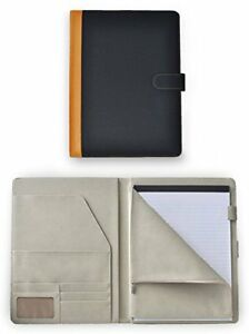 Deluxe Leather Padfolio Portfolio Document Organizer With Zippered Closure Pouch