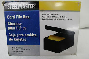 Steelmaster Steel Card File Box Fits 4 X 6 Index Cards 900 Card Capacity