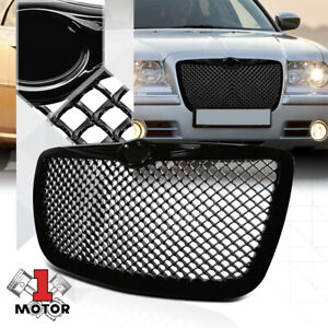 Glossy Black Abs 3d Wave Mesh Bumper Grille Grill For 05 10 Chrysler 300 300c