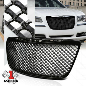 Glossy Black Abs 3d Wave Mesh Bumper Grille Grill For 11 14 Chrysler 300 300c