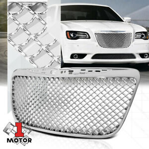 Glossy Chrome Abs 3d Wave Mesh Bumper Grille Grill For 11 14 Chrysler 300 300c