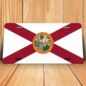 Florida State Flag License Plate Tag Novelty Front Aluminum 6 Inch By 12 Inch