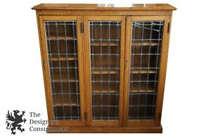 Antique Early 20th C Oak Leaded Glass Bookcase Petite 49 China Display Cabinet