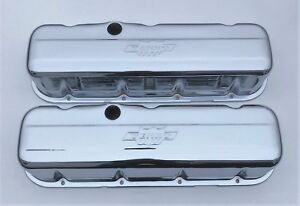 Chevrolet Bbc Chrome Steel Tall Valve Covers Yenko Embossed Logo New Pair