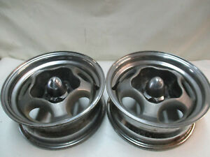 Chevy Gm Motor Spyder Wheels Rims 14x6 Pair Chevelle Gto Camaro Ss Vintage Mags