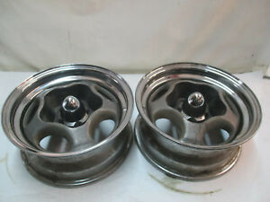 Chevy Gm Motor Spyder Wheels Rims Pair 14x6 Vintage Mags Chevelle Gto Camaro Ss