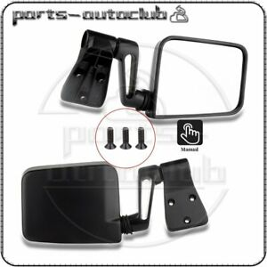 For 1987 2002 Jeep Wrangler Black Manual Passenger Driver Side View Door Mirrors