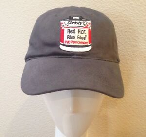Christy s Red Hot Blue Glue Pvc Pipe Cement Hat Plumbing Irrigation Advertising