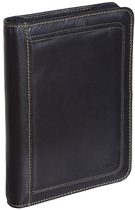 Roots 73 Leather 3 ring Zippered Portfolio Binder With Notepad Black