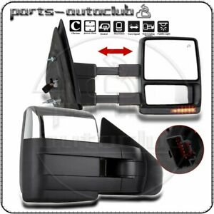 Chrome Power Heated Towing Mirrors Turn Signal Pair For 2007 14 Ford F150 Truck