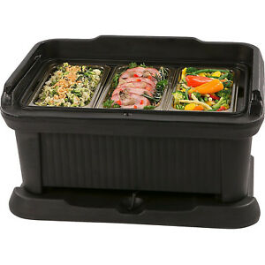 Black Insulated Food Pan Carrier Cold Warm Catering Transport Storage Plastic