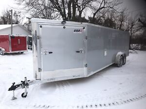 2018 Aluminum 7 X 29 4 Place Enclosed Snowmobile Trailer W options