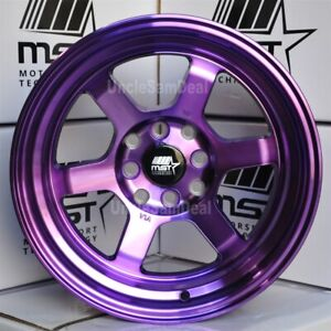 15 15x8 0 Offset 4x100 114 3 Mst Mt01 Purple Machine Lip 6 Spokes Tuner Wheels