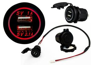 Dual Usb Port Fastcharger Socket Power Outlet 2 1a Car Atv Truck Boat Motorcycle
