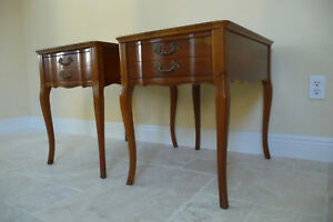 Pair Of Leather Top French Provincial Side End Lamp Tables