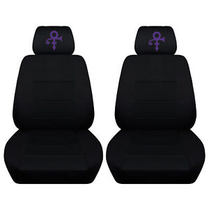 2 Front Black Seat Covers With A Purple Prince Design Separate Headrest Covers