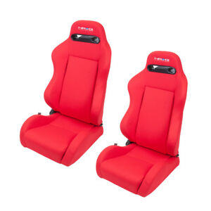 Nrg Innovations Type R Style Bucket Seats Red Cloth Pair Left And Right