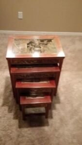 Chinese Oriental Carved Wood Stacking Nesting Side Tables Set Of 4