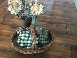New Homespun Plaid Ornies Bowl Fillers Primitive Green Shamrock St Patrick S Day