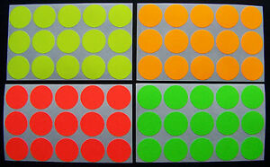 500 Self Adhesive Color Florescent Labels Dots Price Tags Tabs Stickers 3 4